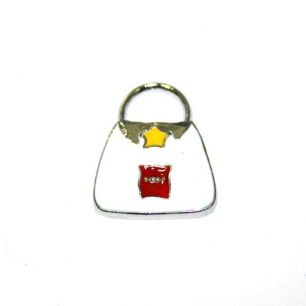 1 x 20*14mm rhodium plated white handbag with red cut pig enamel charm - SD03 - CHE1117